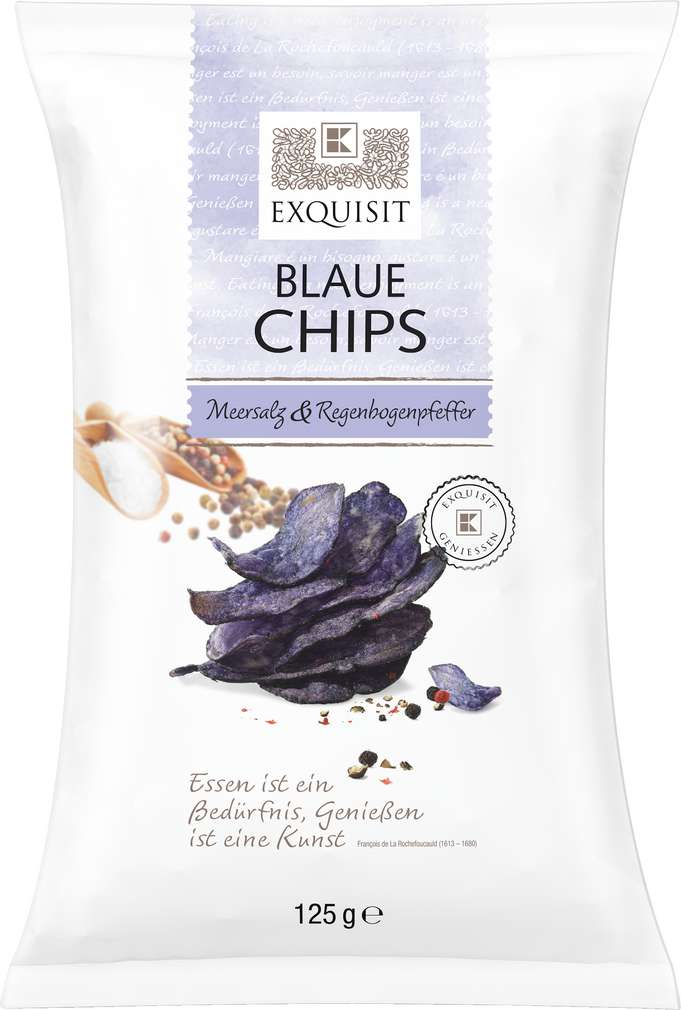 Abbildung des Sortimentsartikels Exquisit Blaue Chips Meersalz & Regenbogenpfeffer 125g