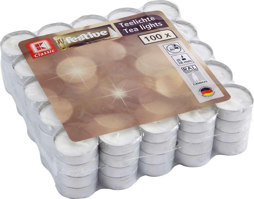 Abbildung des Sortimentsartikels K-Classic Festive Teelichter weiß 100 Stück