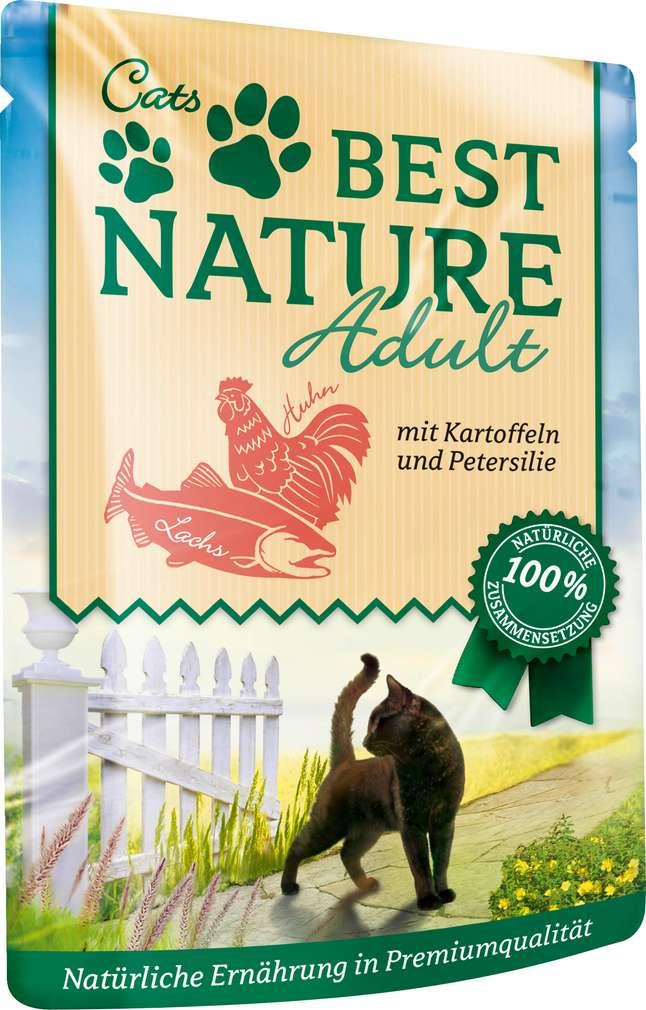 Abbildung des Sortimentsartikels Best Nature Katzennahrung Lachs/Huhn 85g