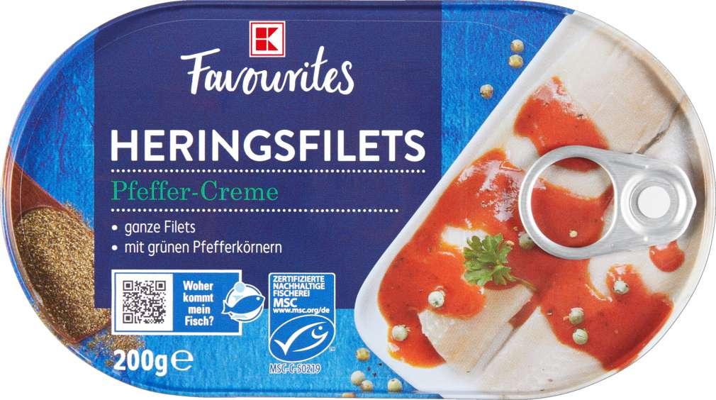 Abbildung des Sortimentsartikels K-Favourites Heringsfilets in Pfeffercreme 200g
