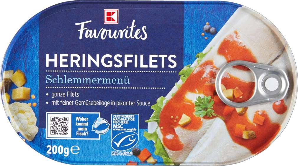 Abbildung des Sortimentsartikels K-Favourites Heringsfilets in pikanter Creme mit Gemüse 200g