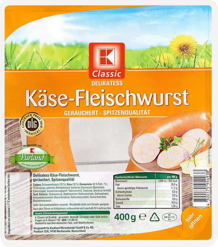 Abbildung des Sortimentsartikels K-Classic Delikatess-Käse-Fleischwurst 400g