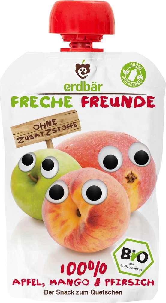 Abbildung des Sortimentsartikels Erdbär Freche Freunde Quetschmus 100% Apfel, Mango & Pfirsich 100g