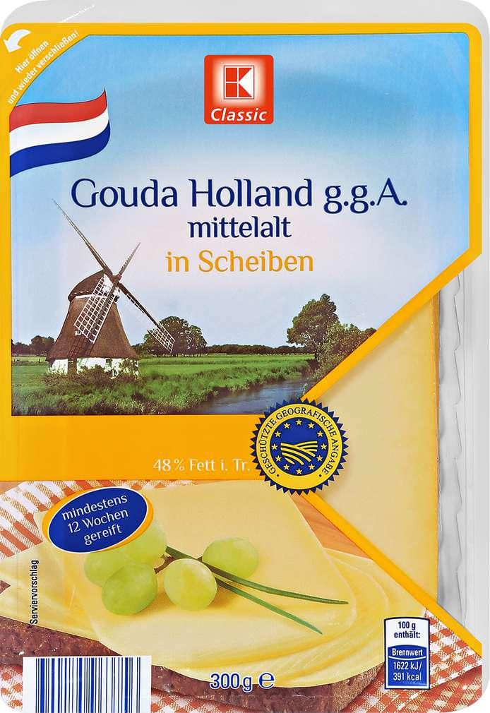 Abbildung des Sortimentsartikels K-Classic Gouda Holland g.g.A. mittelalt in Scheiben300g