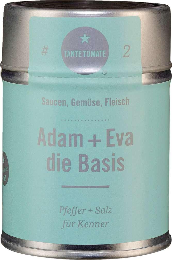 Abbildung des Sortimentsartikels Tante Tomate Adam + Eva die Basis - Pfeffer + Salz für Kenner 125g