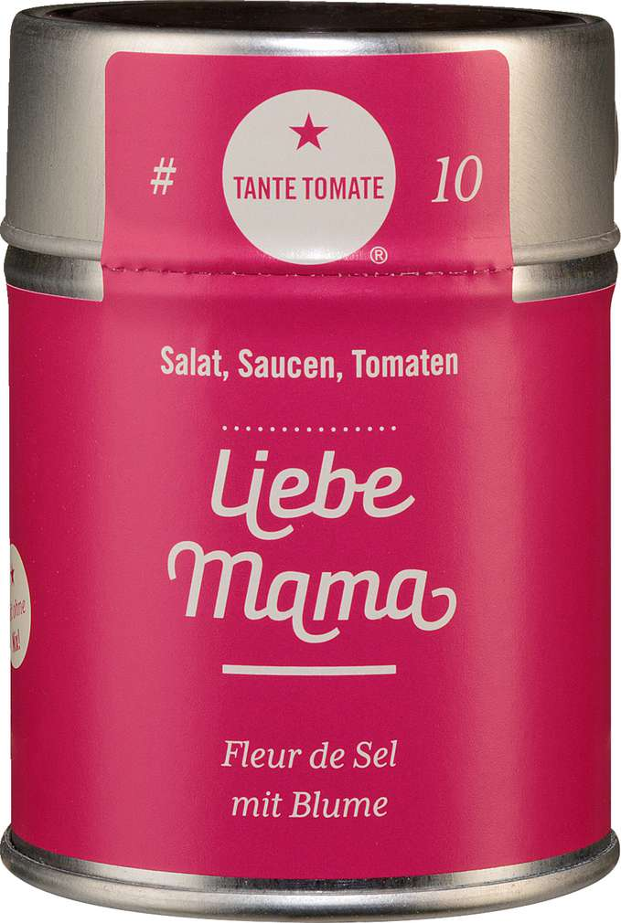Abbildung des Sortimentsartikels Tante Tomate Liebe Mama - Fleur de Sel mit Blume 60g