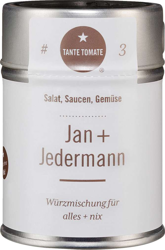 Abbildung des Sortimentsartikels Tante Tomate Jan + Jedermann - Würzmischung für alles + nix 55g