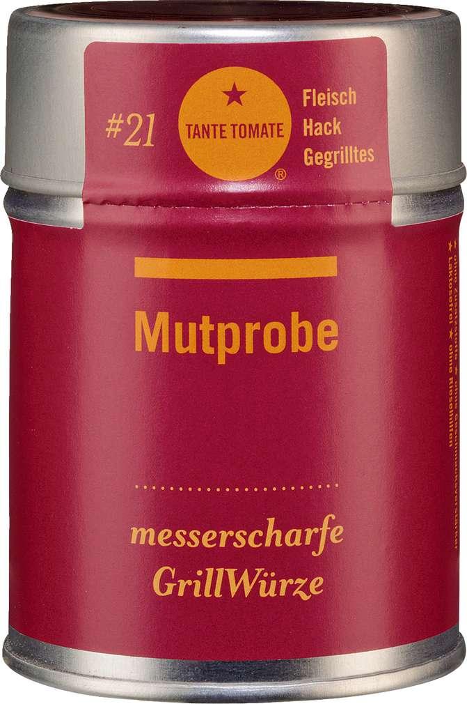 Abbildung des Sortimentsartikels Tante Tomate Mutprobe - Messerscharfe Grillwürze 60g