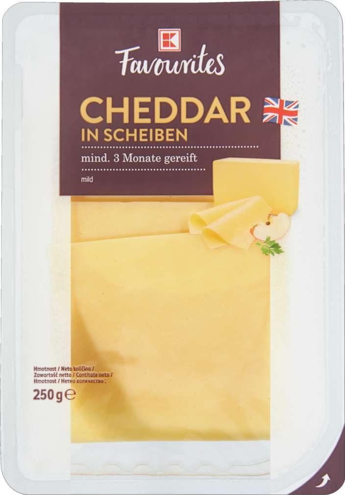 Abbildung des Sortimentsartikels K-Favourites Cheddar weiß in Scheiben 3M 250g