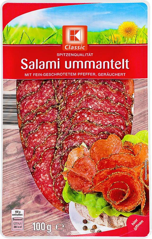 Abbildung des Sortimentsartikels K-Classic Salami ummantelt mit Pfeffer