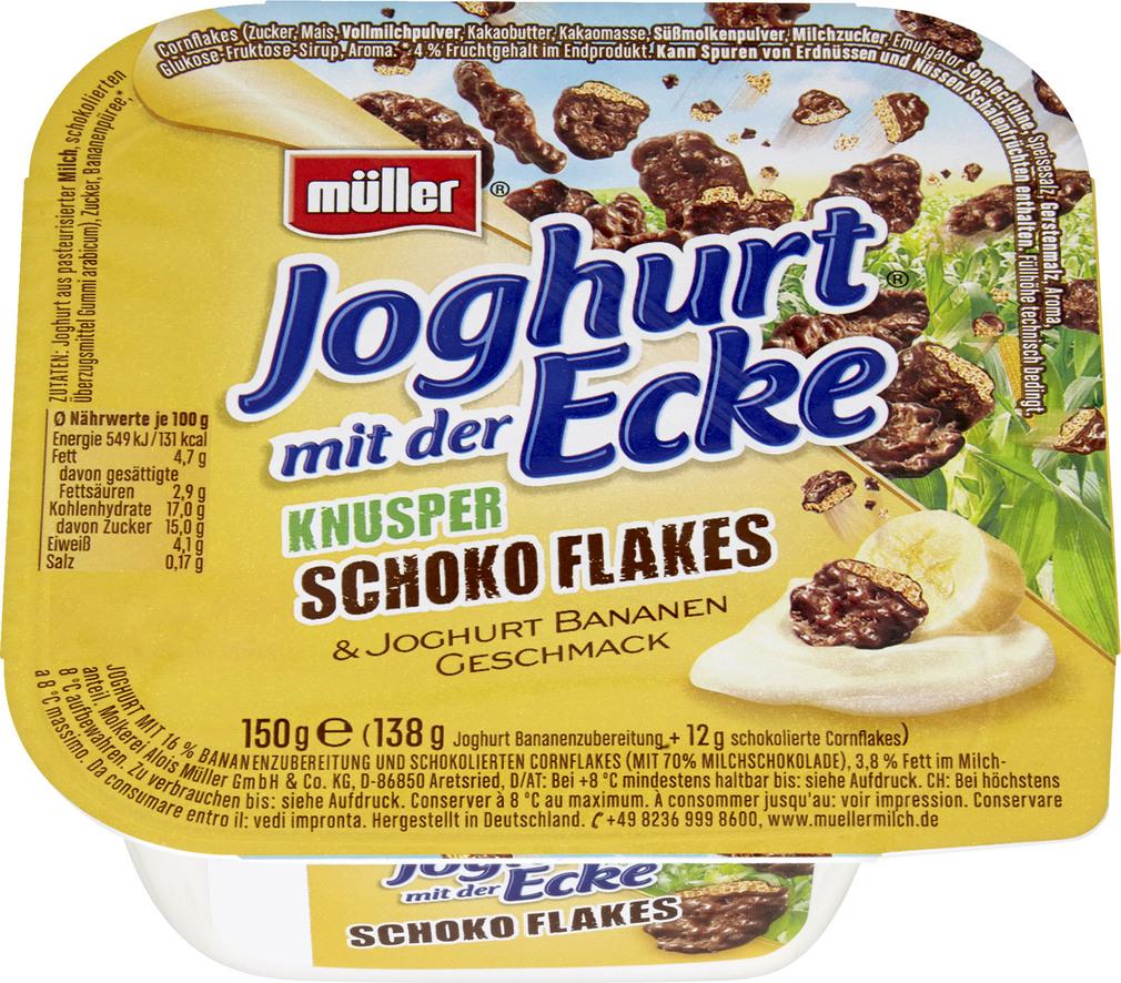 Abbildung des Sortimentsartikels Müller Joghurt mit der Ecke Knusper Schokoflakes 150g