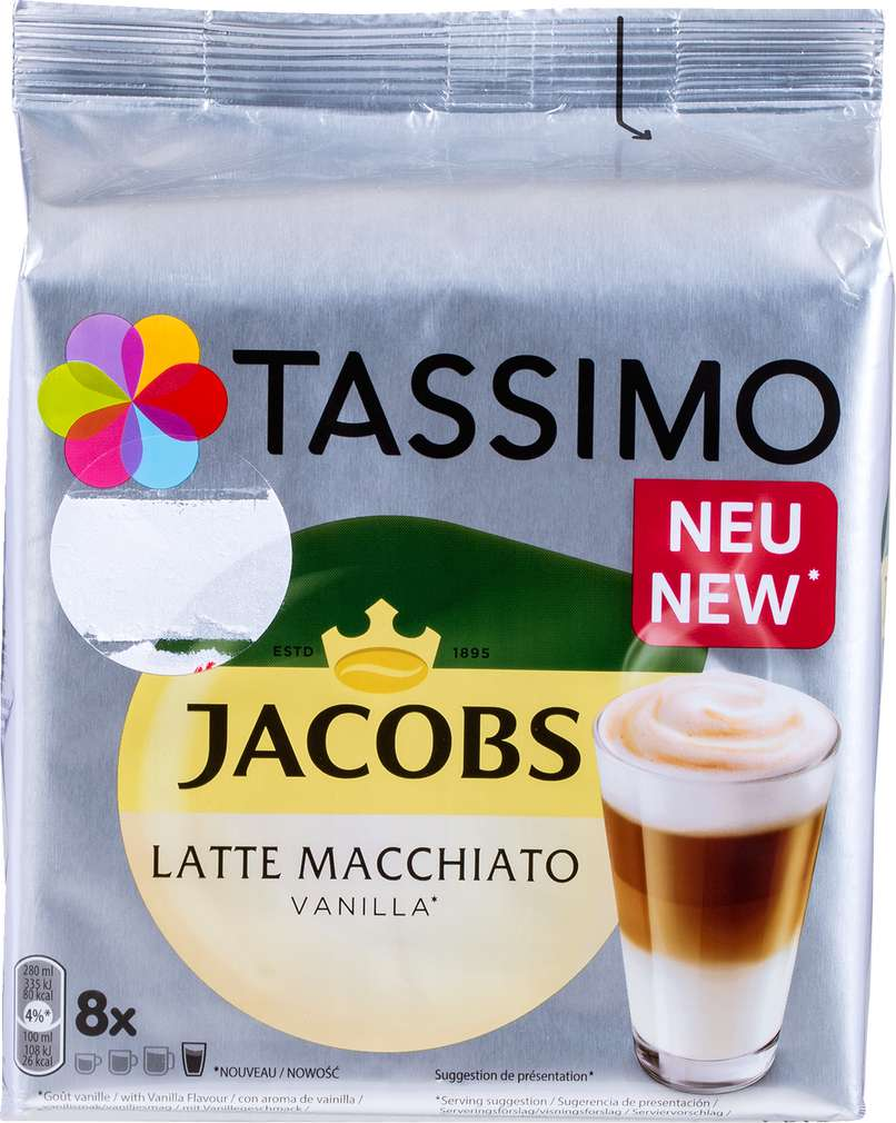 Abbildung des Sortimentsartikels Jacobs Tassimo Latte Macchiato Vanille 268g, 2x8 Kapseln