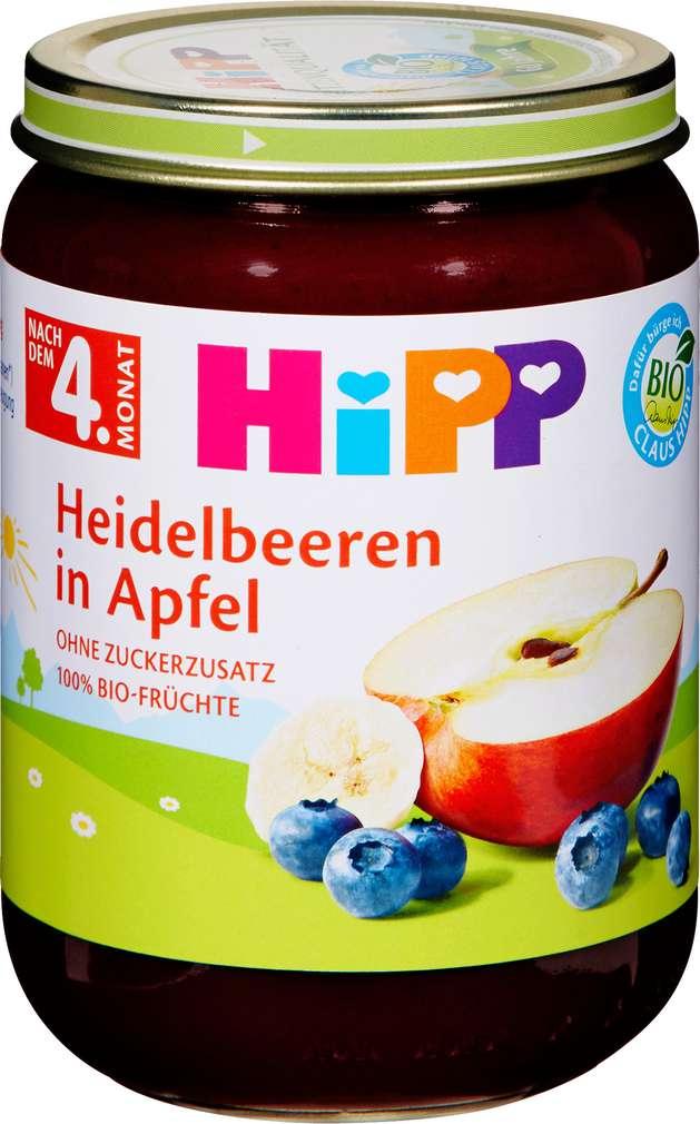 Abbildung des Sortimentsartikels Hipp Heidelbeeren in Apfel 190g