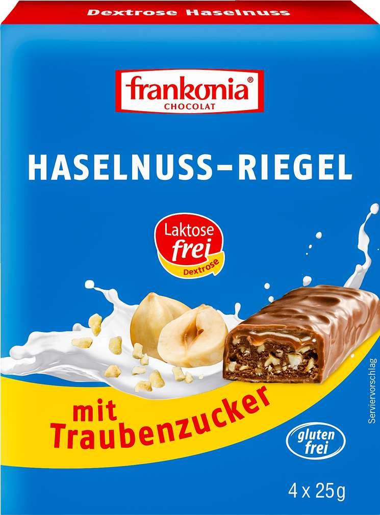 Abbildung des Sortimentsartikels Frankonia Chocolat Dextrose-Haselnuss Riegel lf.+gf. 4x25g