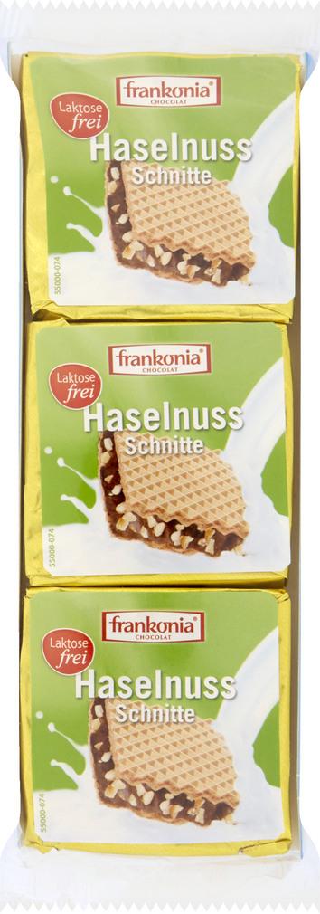 Abbildung des Sortimentsartikels Frankonia Chocolat Haselnuss Schnitte 3x21g
