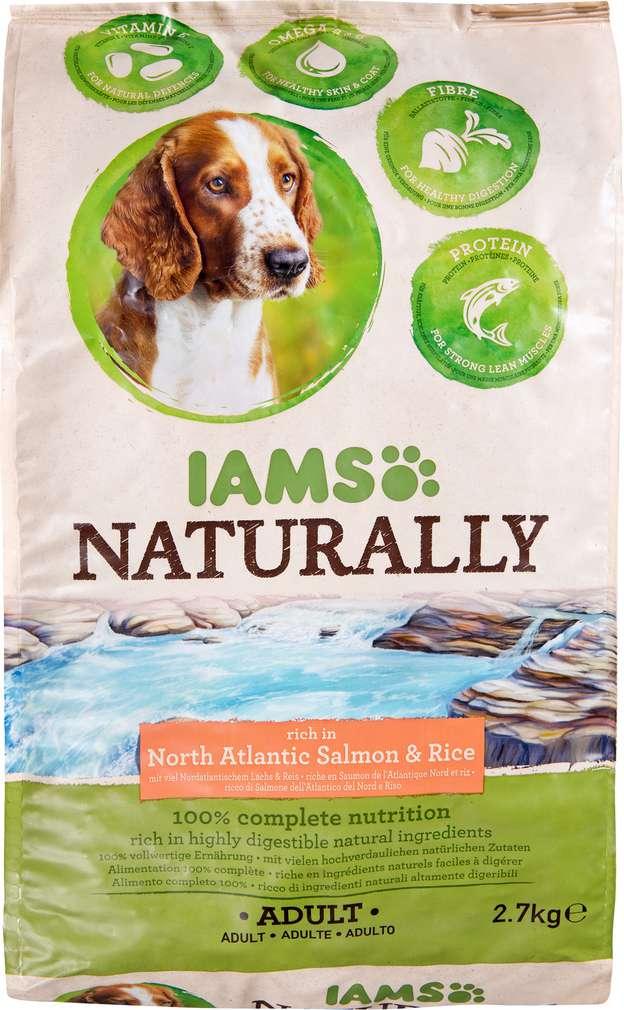 Abbildung des Sortimentsartikels IAMS Naturally Adult mit Lachs und Reis 2,7kg