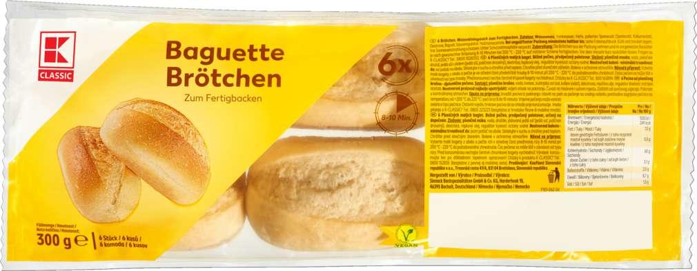 Abbildung des Sortimentsartikels K-Classic Baguette-Brötchen zum Aufbacken 6 Stück