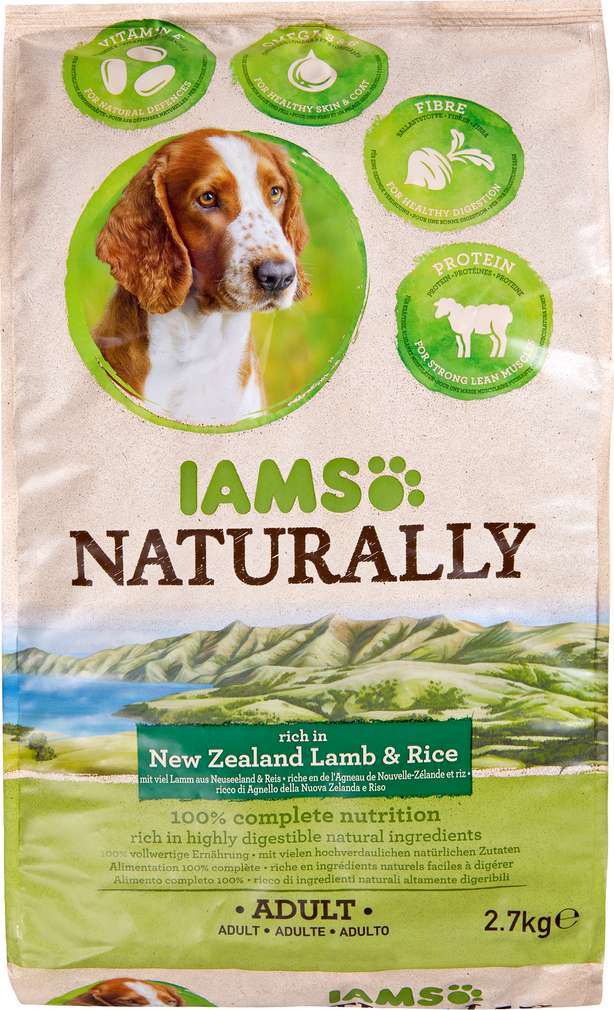 Abbildung des Sortimentsartikels IAMS Naturally Adult New Zealand Lamm und Reis  2,7kg