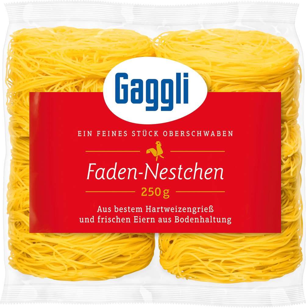 Abbildung des Sortimentsartikels Gaggli Frischeier-Faden-Nestchen 250g