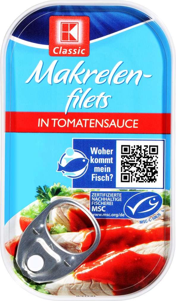 Abbildung des Sortimentsartikels K-Classic Makrelenfilet in Tomatensauce 125g