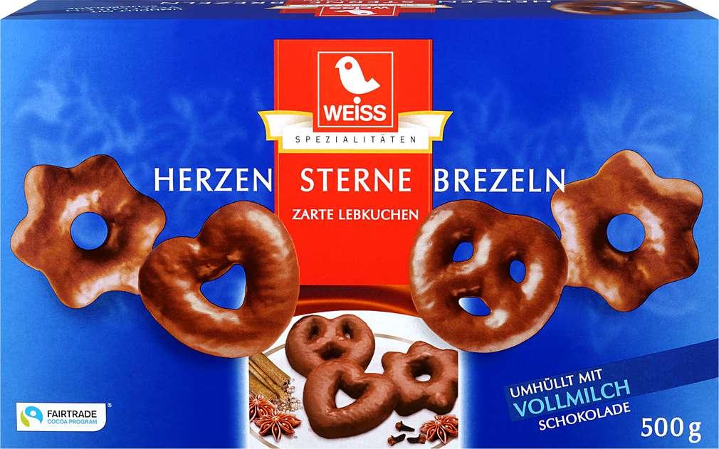 Abbildung des Sortimentsartikels Weiss zarte Lebkuchen umhüllt mit Vollmilchschokolade 500g