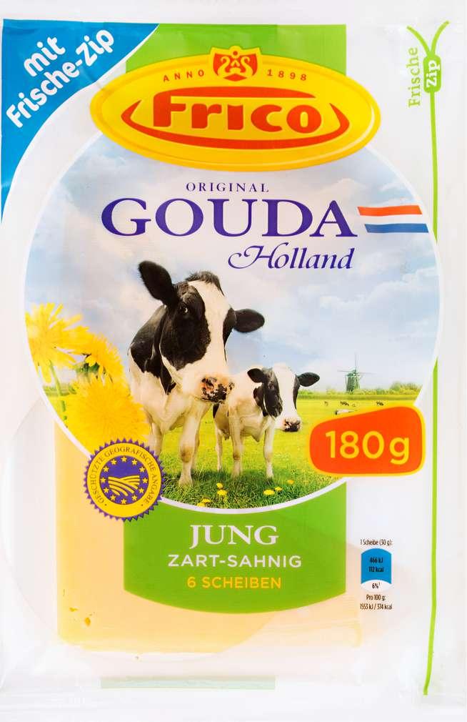 Abbildung des Sortimentsartikels Frico Gouda jung Schnittkäse-Scheiben 48% Fett i.Tr. 180g