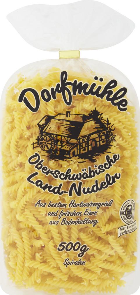 Abbildung des Sortimentsartikels Dorfmühle Oberschwäbische Landnudeln Spiralen 500g