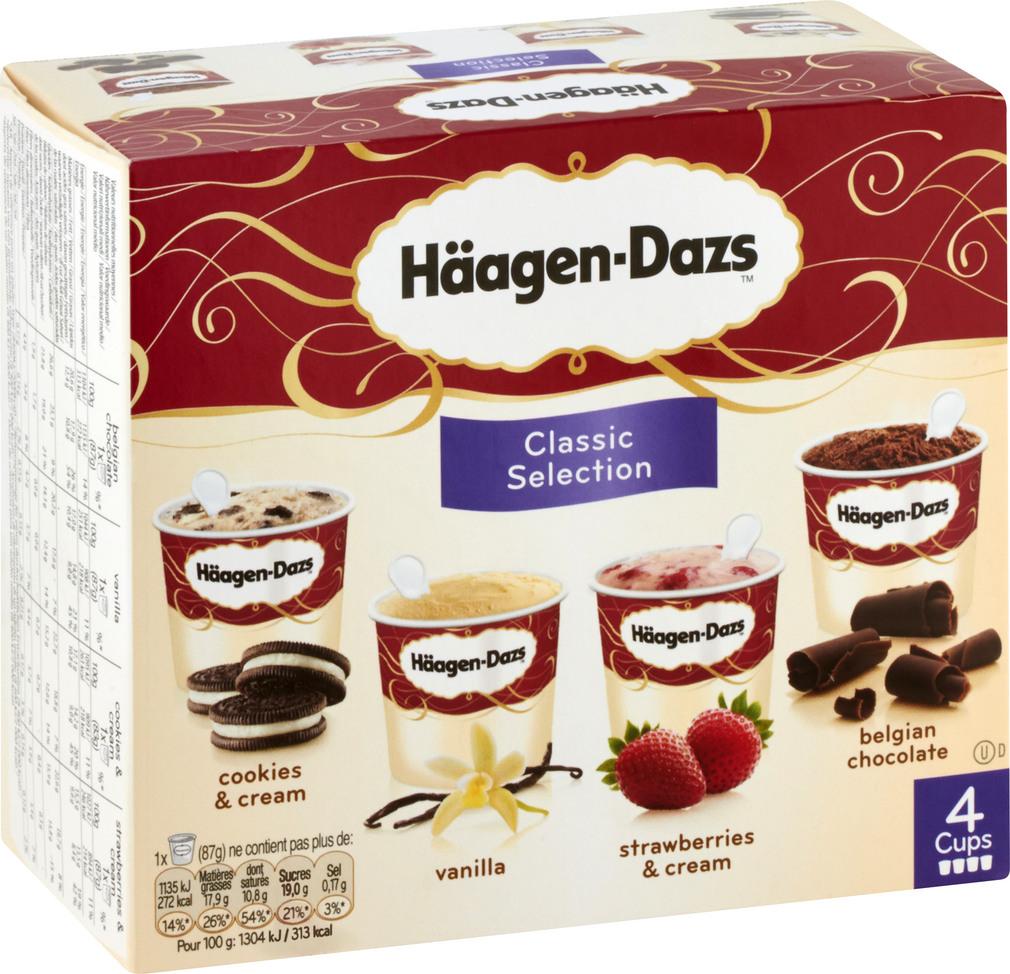 Abbildung des Sortimentsartikels Häagen-Dazs Classic Selection Eis 4x100ml