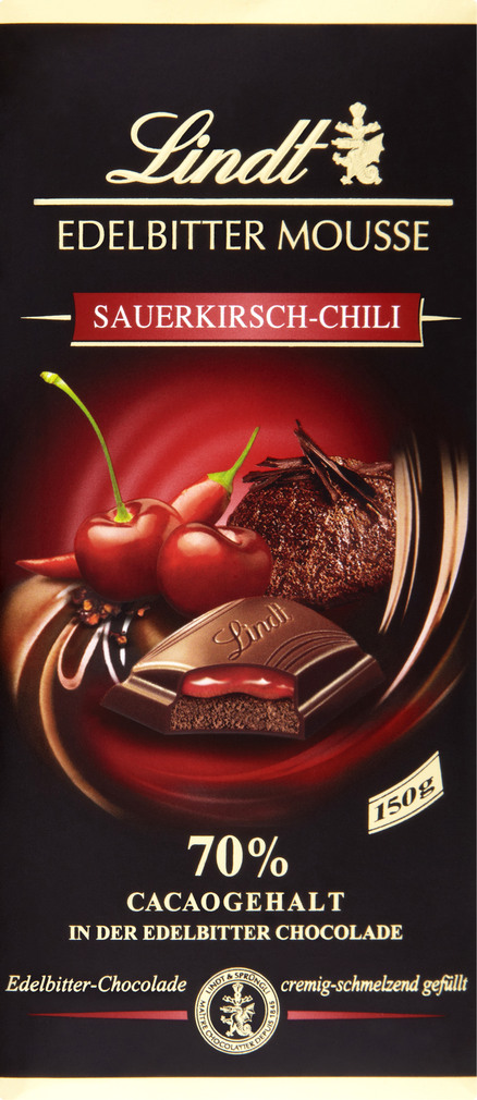 Abbildung des Sortimentsartikels Lindt Edelbitter Mousse Sauerkirsch-Chili 150g