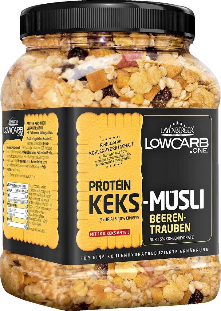 Abbildung des Sortimentsartikels Layenberger Protein Keks-Müsli Beeren-Trauben 530g