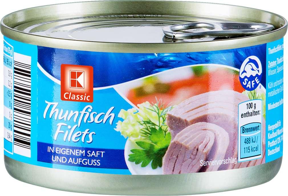 Abbildung des Sortimentsartikels K-Classic Thunfischfilets in eigenem Saft 195g