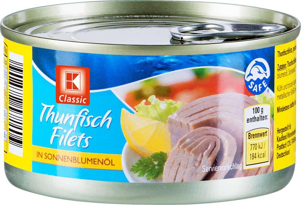 Abbildung des Sortimentsartikels K-Classic Thunfischfilets in Öl 185g