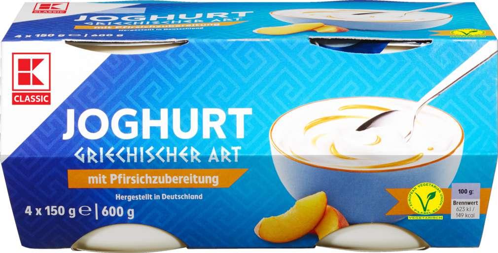 Abbildung des Sortimentsartikels K-Classic Joghurt griechischer Art Pfirsich 4x150g