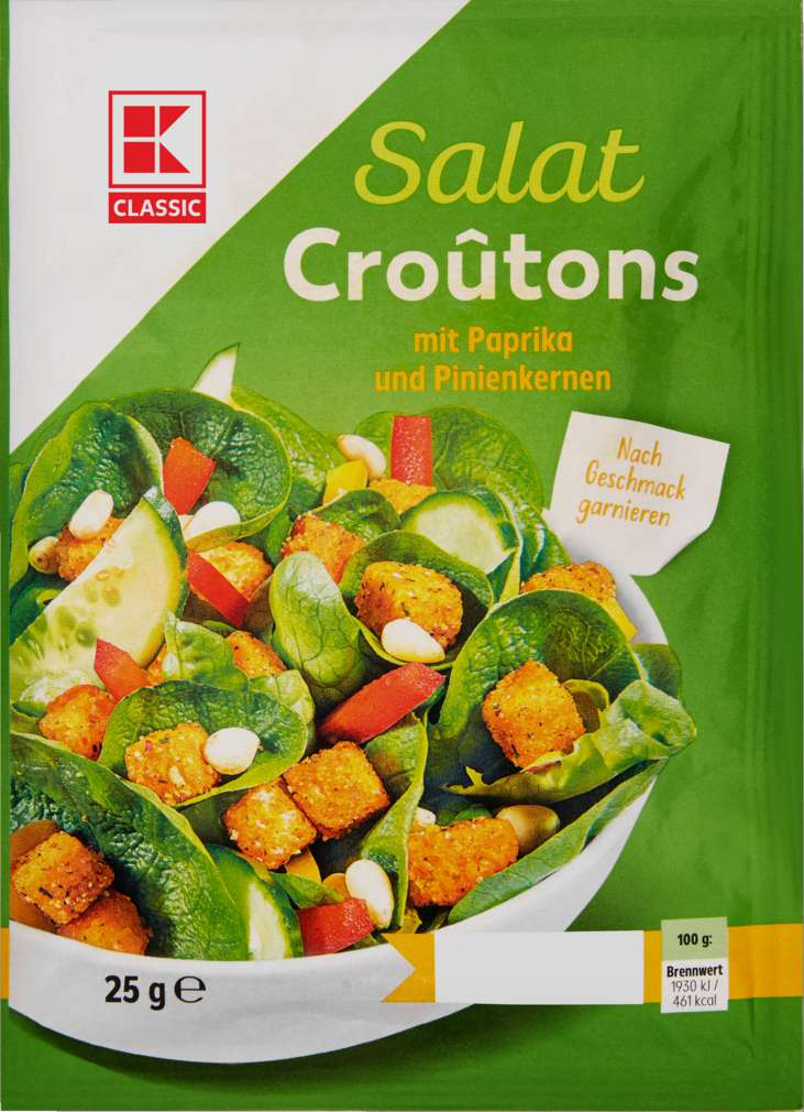Abbildung des Sortimentsartikels K-Classic Salatcroutons Paprika+Pinienkerne 25g