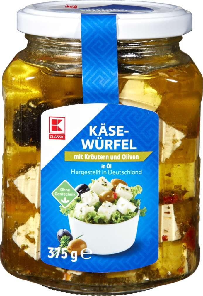Abbildung des Sortimentsartikels K-Classic Hirtenkäse mit Kräutern und Oliven in Öl 375g