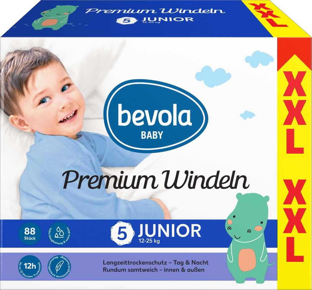 Abbildung des Sortimentsartikels Bevola Windeln Junior XXL 2x44 Stück