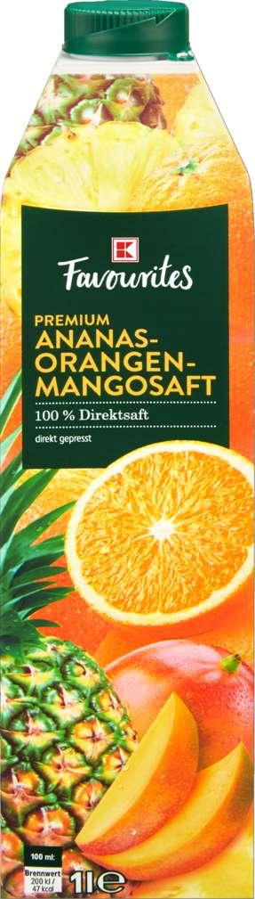 Abbildung des Sortimentsartikels K-Favourites Direktsaft Ananas-Orange-Mango 1,0l
