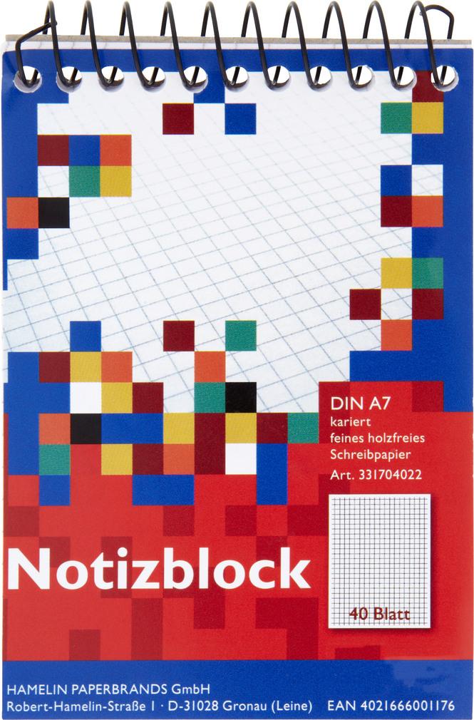 Abbildung des Sortimentsartikels Landré Spiralnotizblock A7 kariert 40 Blatt
