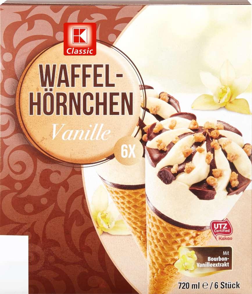 Abbildung des Sortimentsartikels K-Classic Waffelhörnchen Choco-Vanille Eis 6x120ml