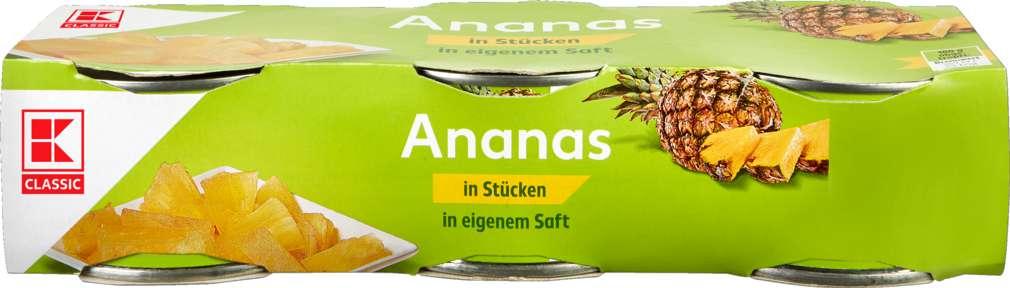 Abbildung des Sortimentsartikels K-Classic Ananas in Stücken in eigenem Saft 3x230g