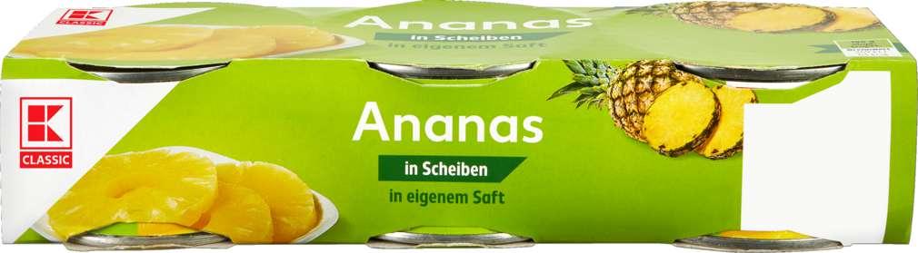 Abbildung des Sortimentsartikels K-Classic Ananas in Scheiben in eigenem Saft 3x220g