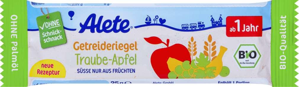 Abbildung des Sortimentsartikels Alete Getreideriegel Apfel/Traube ab 1 Jahr 25g