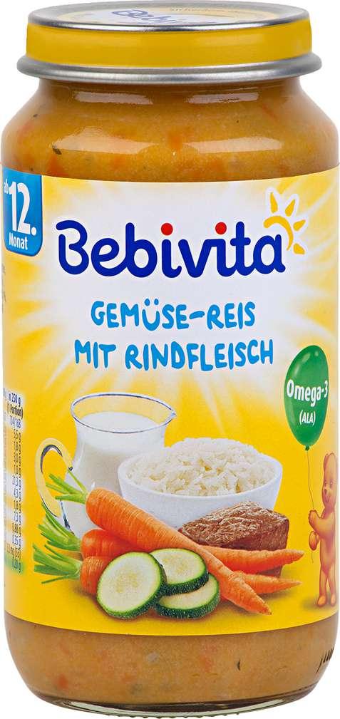 Abbildung des Sortimentsartikels Bebivita Kindermenü Gemüse-Reis/Rindfleisch ab 12. Monat 250g