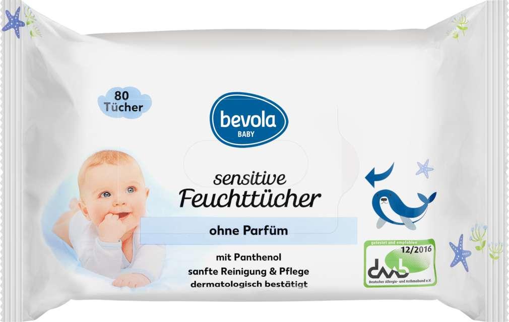 Abbildung des Sortimentsartikels Bevola Baby Feuchttücher Sensitive 80Stück