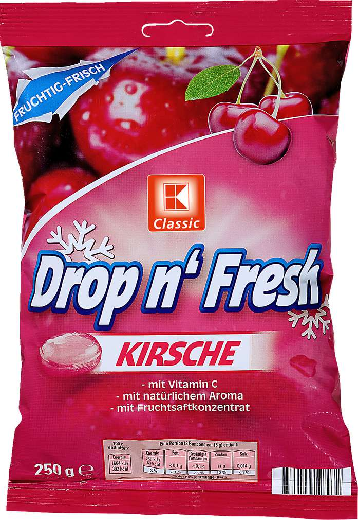 Abbildung des Sortimentsartikels K-Classic Drop n'Fresh Kirsch Bonbons 250g
