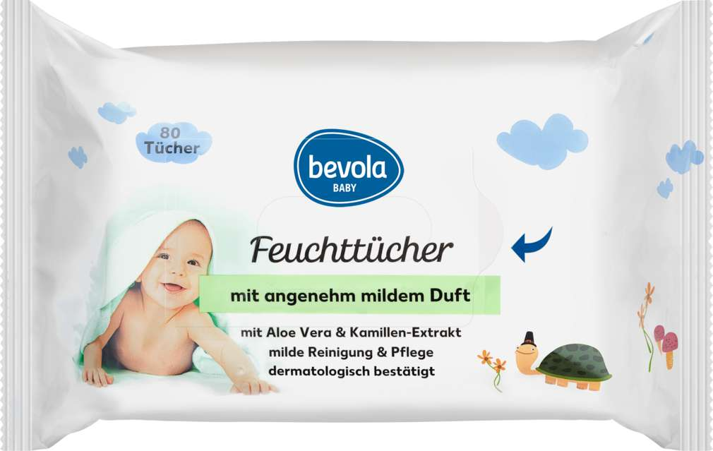 Abbildung des Sortimentsartikels Bevola Baby Feuchttücher Mild 80Stück
