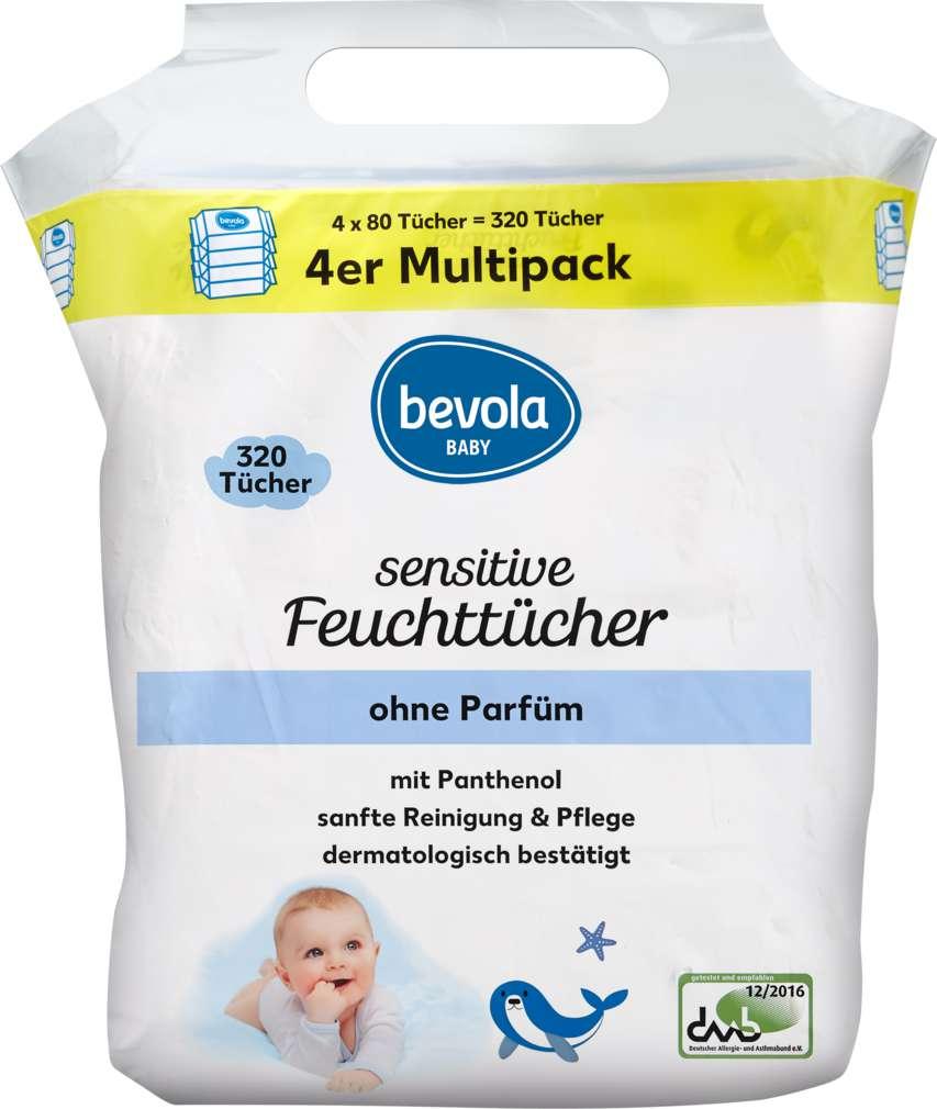 Abbildung des Sortimentsartikels Bevola Baby Feuchttücher Sensitive 4x80St