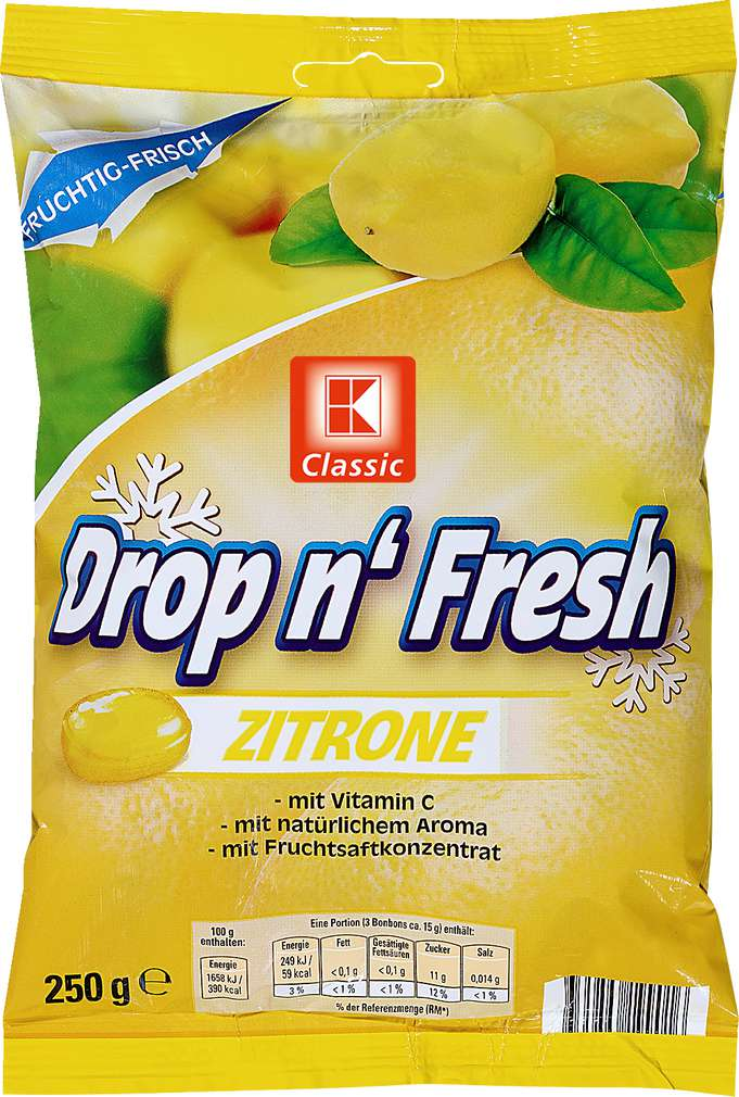 Abbildung des Sortimentsartikels K-Classic Drop n'Fresh Zitrone Bonbons 250g