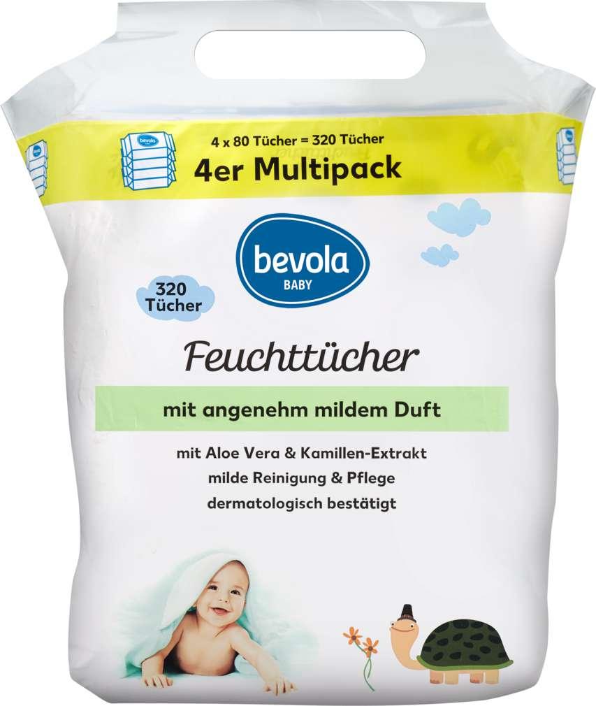 Abbildung des Sortimentsartikels Bevola Baby Feuchttücher Mild 4x80St