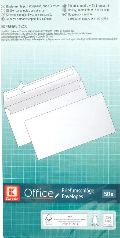 Abbildung des Sortimentsartikels K-Classic Briefumschläge DIN A4 lang 50 Stück